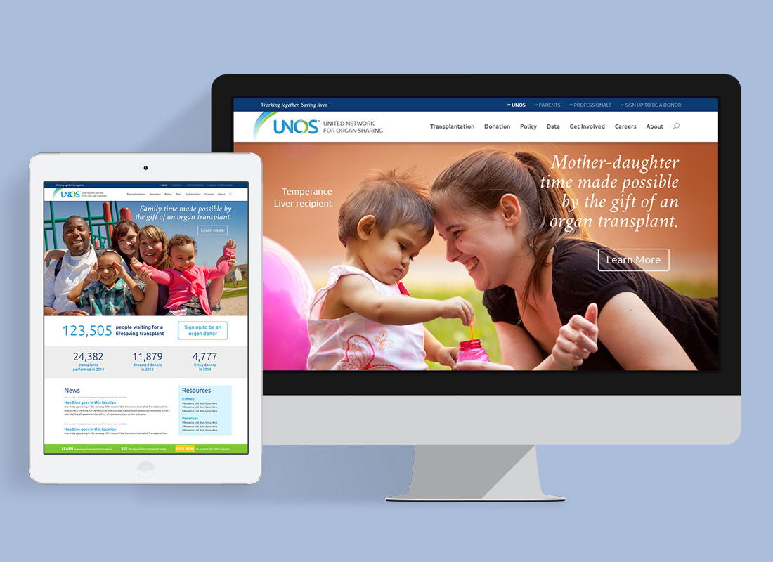 screenshot of UNOS website